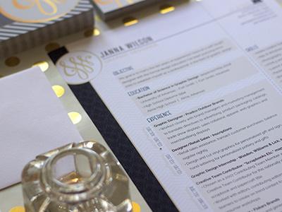 Personal Identity - Resume logo branding handlettering patterns print personal identity gold foil resume