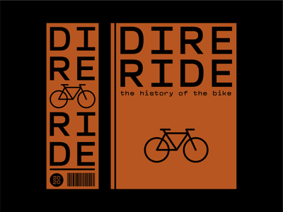 DIRE RIDE typography 2d art orange book cover simple exploration flat vector design adobe illustrator