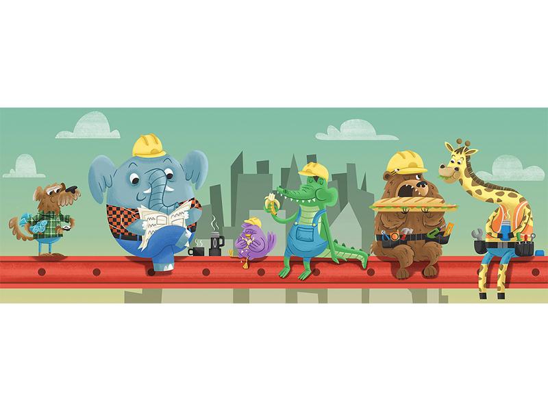 Break Time! lunch giraffe bear crocodile dog childrens illustration elephant kid lit builders construction