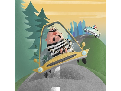 Cops And Robbers burglar car chase kid lit chase character design illustration robbers cops