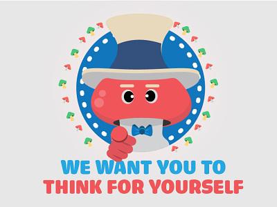 Stay healthy health psychedelic mental health stay healthy stay woke mushroom uncle sam design cute illustration
