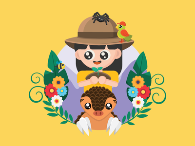 Explore nature and Protect wildlife school program character book design girl character girl explore cute jungle forest spider wildlife illustration children pangolin wildlife