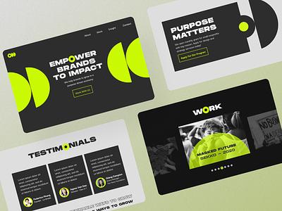 ODD Creative Website - Empower brands to impact user interface green black web design website social impact impact agency advertising agency creative agency creative empowering empower bold ui design ui
