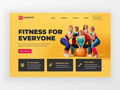 Everyfit - Fitness for Everyone everyone website ui design web design inclusivity girls workout fitness gym gym website