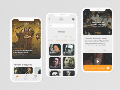 VieA - Arts curated for you curate curation collection ui design vietnam vietnames classic films painting museum arts app design app