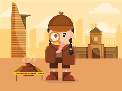 Poop Detective illustration landmarks saigon detective poop