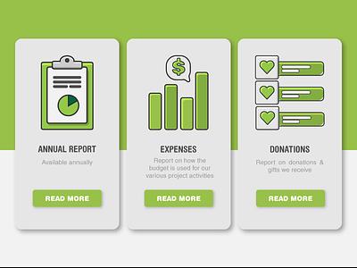 Nonprofit report icons list donation expense report icons illustration ui illustration