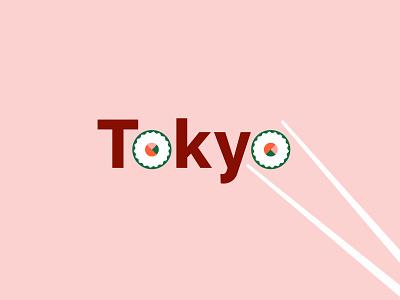 TOKYO 🍣 pink flat chopsticks sushi logo typeface modern minimal font color tokyo typography vector illustration visual design design