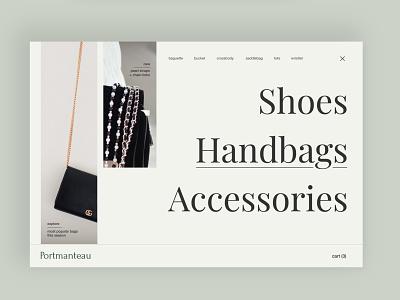 Fashion 👜 navigation menu minimal clean daily ui designs boutique handbags fashion shop web design web product design typography branding ux ui visual design