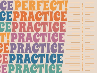 Practice makes perfect! rainbow expert levels grow retro font perfect practice retro color minimal vector typography branding design visual design