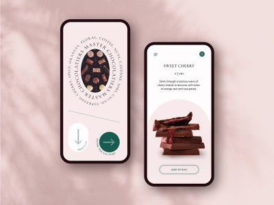 sweet cherry :: daily ui product design pink mobile store shop chocolate web typography ui branding visual design