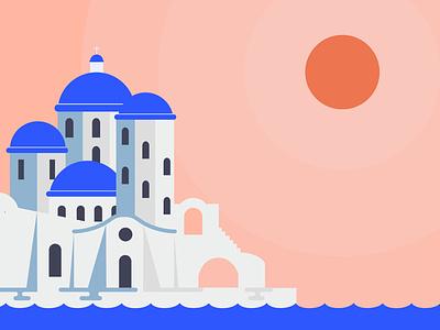Grecian Sunset poster graphic design visual design illustration design