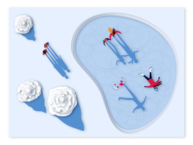 Winter Wonderland paper shadows perspective paper art illustration visual design design