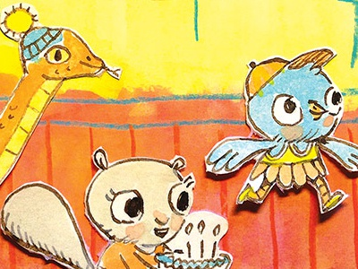Birthday Party! watercolor pen and ink colored pencil comics animals party