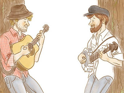 The Okee Dokee Brothers, website illos the okee dokee brothers bluegrass music kindie grammy banjo guitar