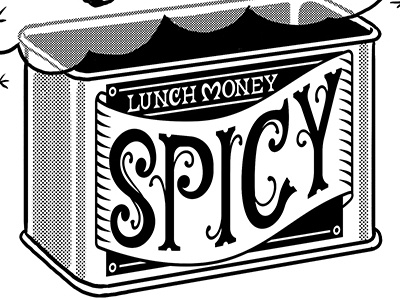 Spicy t-shirt design lunch money t-shirt gingerbread man spicy hand-lettering