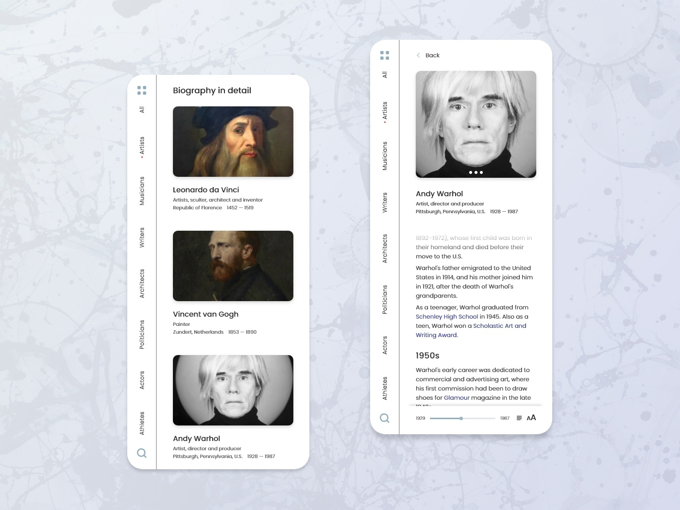 Biography In Detail biography wikipedia wiki mobile design mobile app mobile ui typography concept art minimal app web ui ux design