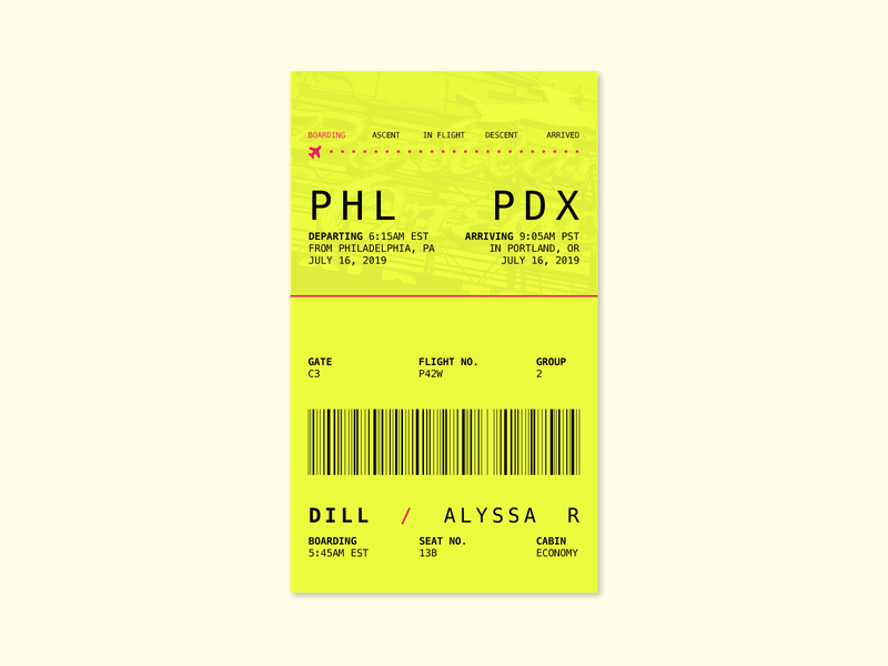 Daily UI 024 plane boarding passbook pass boarding pass dailyui 024 dailyuichallenge daily ui ui vector icon design typography flat