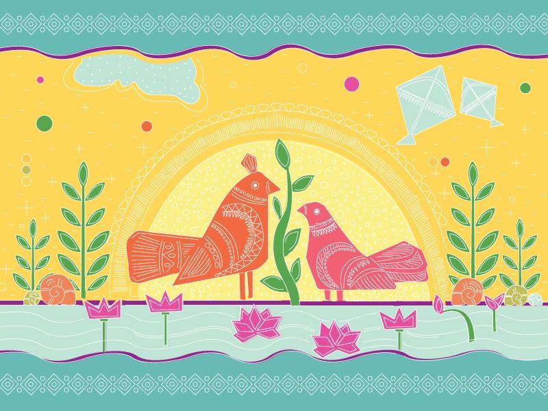 boishakhi post card bangladeshi folk art charukola illustration art bangladesh dhaka post card bangla bangla new