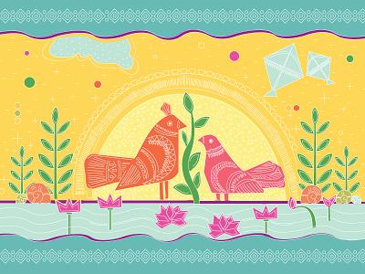 Boishakhi  Post Card bangladeshi folk art charukola illustration art bangladesh dhaka post card bangla bangla new year boishakh