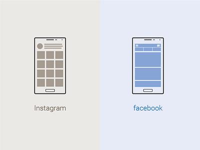 Instagram And Facebook Mobile Ui V brown blue flat icon illustration graphic design outline mobile instagram fb facebook ui icon