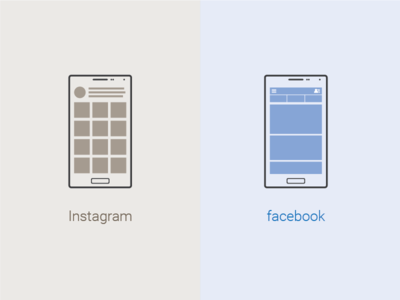 Instagram And Facebook Mobile Ui V brown blue flat icon illustration graphic design outline mobile instagram fb facebook ui icon