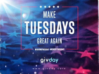 Make Tuesdays Great Again  giving tuesday givingtuesday givday tuesday flag america