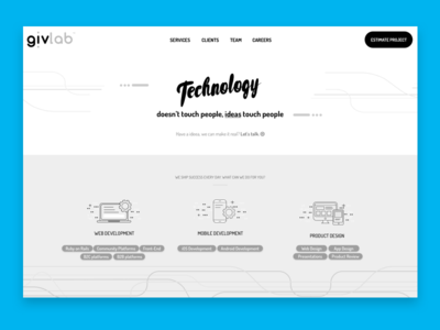 Work in progress, home page wireframe