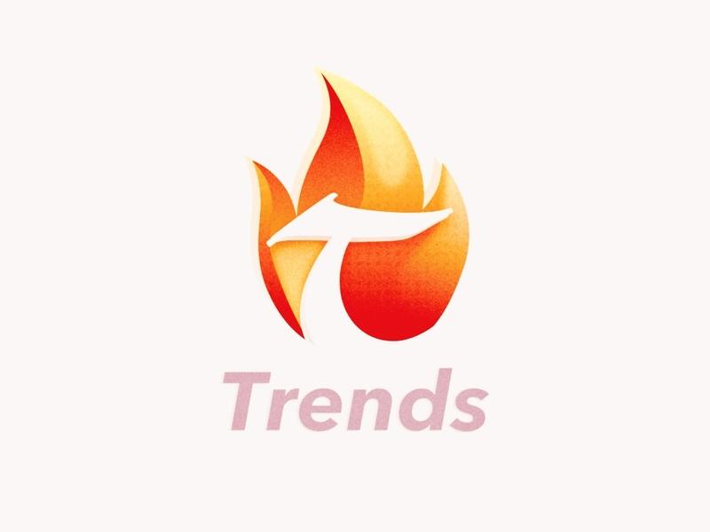 Trends app Concept Logo branding fire logo icon trends