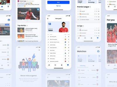 Football app - Overview football soccer app design app design clean minimal concept ux ui