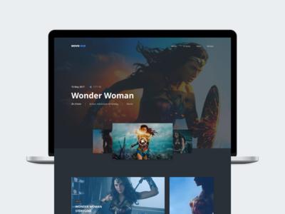 Movie Hub - Wonder Woman cinema film wonder woman ux ui web movie concept design clean minimal modern