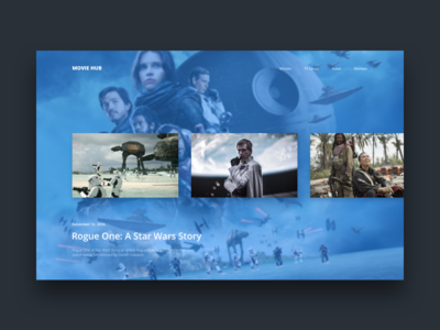 Movie Hub - Gallery Page cinema film star wars ux ui web movie concept rogue one clean minimal gallery