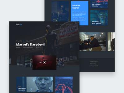 Movie Hub - Daredevil marvel hub web website concept cinema movie daredevil ux ui clean dark