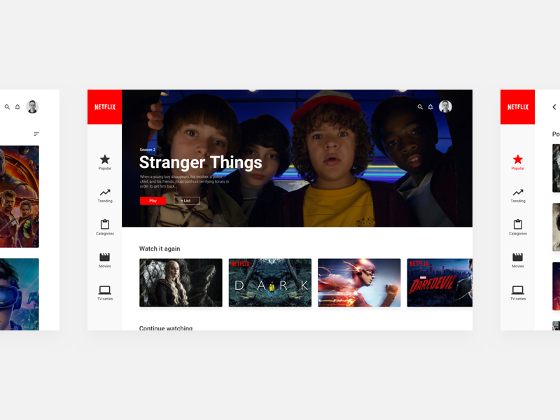 Netflix Redesign - Home app minimal streaming tv-series movies web ux ui redesign netflix