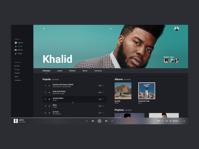Artist Page - Music Player web artist minimal clean concept music music player design ux ui