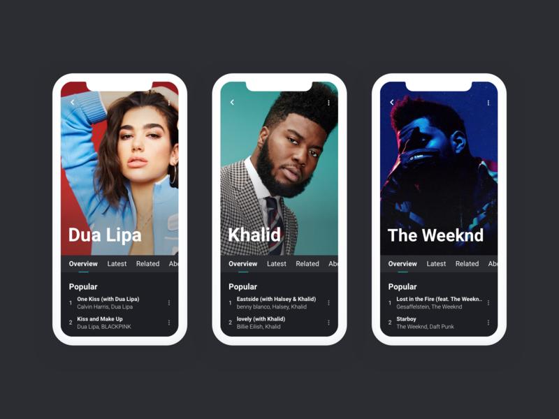 Mobile Views - Music Player flat interface design player music artist concept minimal clean ux ui