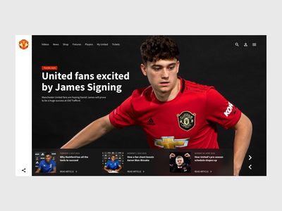Front page - Man Utd Concept minimalist website concept sport design website man utd manchester united football ux ui