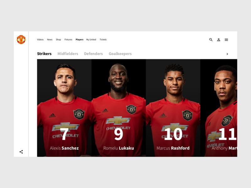 Player Overview - Man Utd Concept simplistic minimalist design app design website concept man utd manchester united soccer football sport ux ui