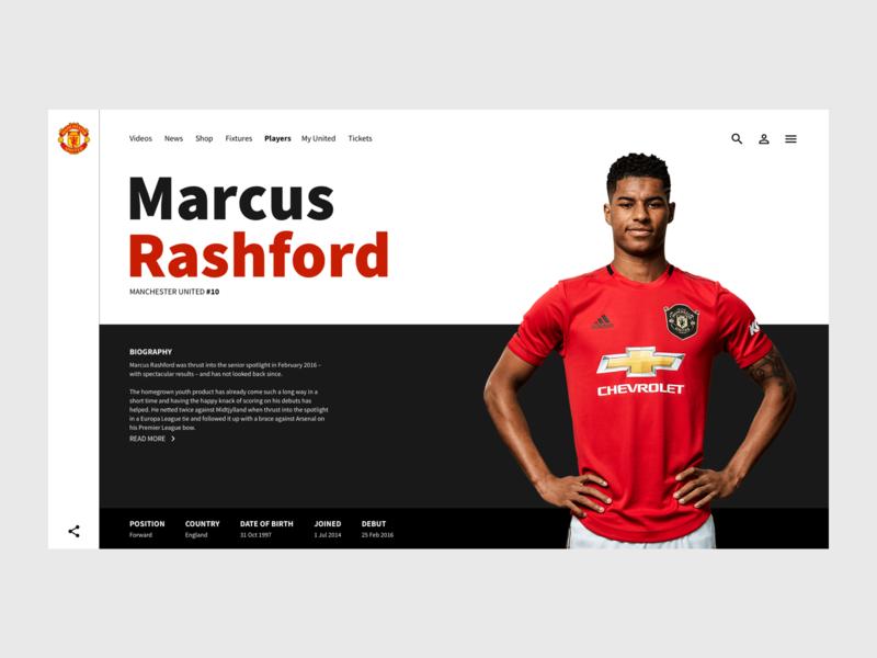 Player page - Man Utd Concept player page website concept man utd manchester united sport design marcus rashford user interface ui
