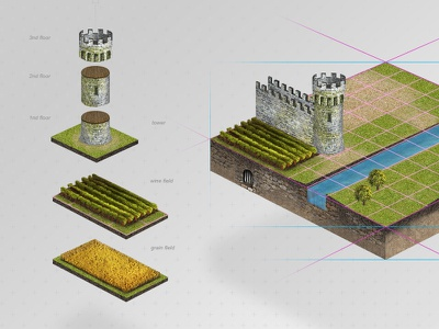 The Kingdom Game Interface build grain wine tree wall kingdom castle empire age pixels game