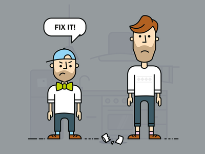 Bow-tie Friday Fix It concept team cartoon digital designers dutch fourleaf illustration friday bow-tie