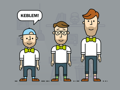 Bow-tie Friday Keblem! team illustration friday fourleaf dutch digital designers concept cartoon bow-tie