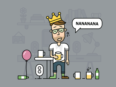 Bow-tie Friday Drunk dutch fourleaf glasses king illustration bottle friday bowtie beer party dribbble drunk