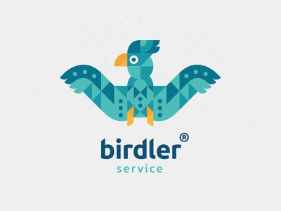 Birdler service grid cube logo welcome open bow-tie butler service blue green yellow bird