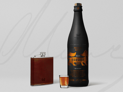 Foxshot Rum Bottle shot gold black mockup orange fox foxshot rum bottle shot