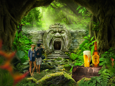 Oeki Woeki Brewery Forest photoshop psd concept logo glass bottle cave poster brewery beer oeki woeki forest