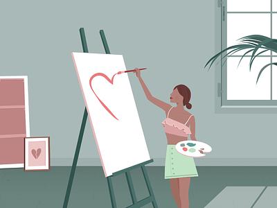 Never give up heartbreak heart love painting pastel girl portugal lisbon vector illustration