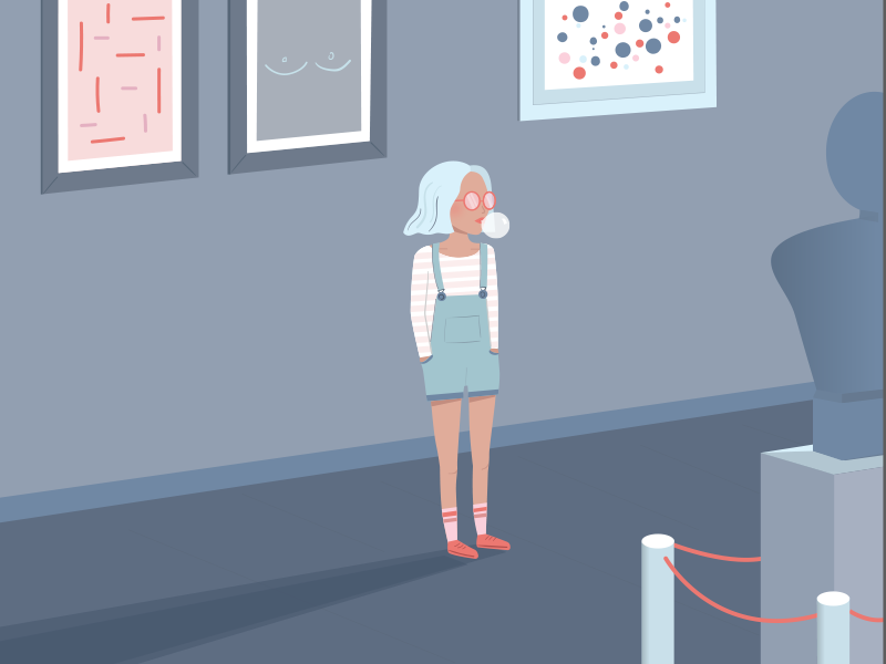 Take me to the museum art bubblegum museum girl portugal lisbon vector pastel illustration
