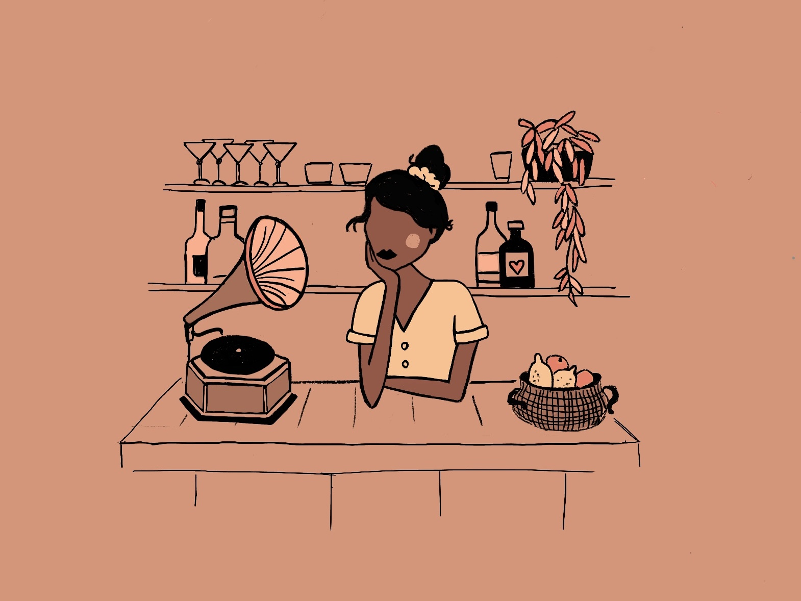 A shot of Fado katrin kohl kati kohl procreate illustration art illustrator saudade cocktail bar grammophon girl portugal lisbon illustration