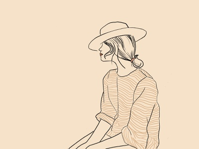 Les temps sont durs pour les rêveurs summer stripes hat retro vintage saudade fashion illustration pastel illustration art art vector procreate katrin kohl kati kohl girl portugal lisbon illustration